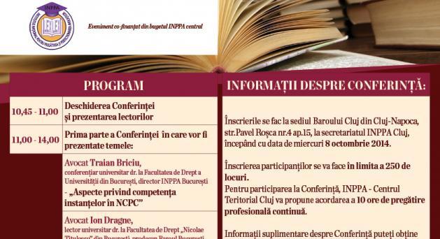 """Conferința  """"NOUL COD DE PROCEDURA CIVILĂ - în al 2-lea an de aplicare'' - 31 oct 2014"""