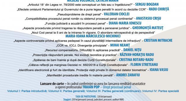 Noile Coduri penale la 5 ani de la intrarea în vigoare - 22 - 23 martie 2019, Cluj-Napoca